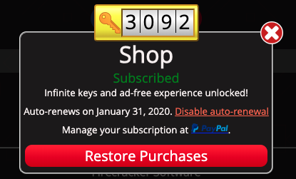 Screenshot of the Shop dialog to cancel a subscription